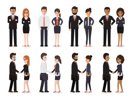 profesionistas: Grupo de personas en el trabajo con el apretón de manos en el fondo blanco. caracteres diseño plano. Vectores