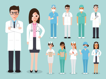 male female: doctors and nurses and medical staffs flat design icon set