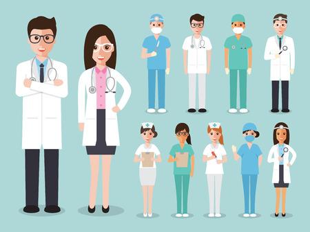 egészségügyi: orvosok és ápolók és az egészségügyi vezérkar lapos kialakítás, ikon, állhatatos Illusztráció
