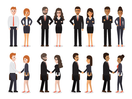 Group of people at work with handshaking on white background. Flat design characters. Çizim
