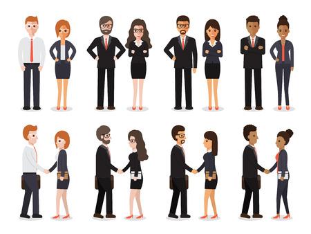 Groupe de personnes au travail avec handshaking sur fond blanc. Appartement conception des personnages.