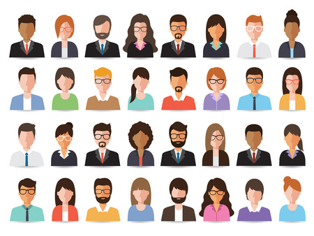 set of working people on white background. Flat design characters.