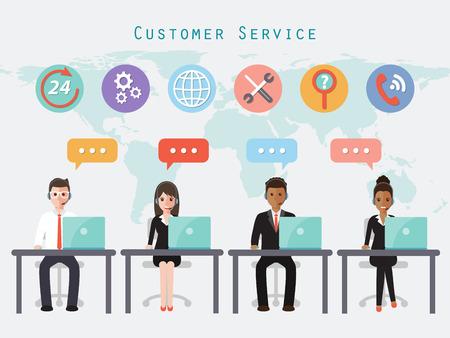callcenter en klantenservice mensen. Stock Illustratie