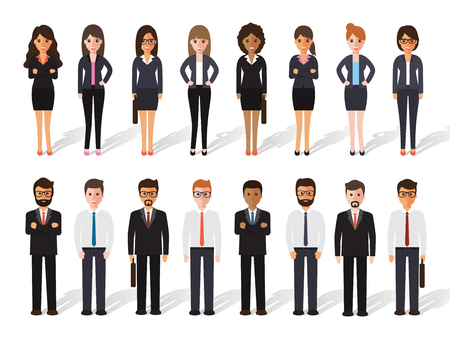 set of working people standing on white background. businessman and businesswoman in flat design characters.