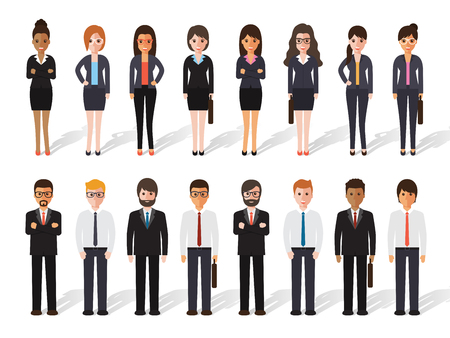 set: set of working people standing on white background. businessman and businesswoman in flat design characters.