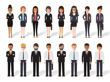 Zestaw ludzi pracy stojących na białym tle. Biznesmen i businesswoman w płaskim wzorem znaków.