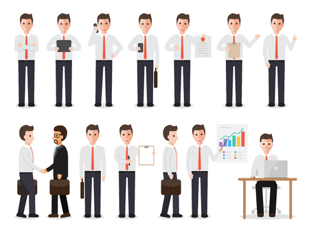 young businessman: set of working people on white background. businessman people in flat design characters.