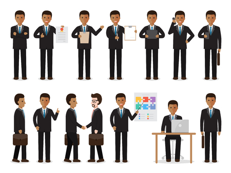 nationalities: set of black working people on white background. African businessman people in flat design characters. Illustration