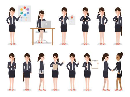 conjunto de personas que trabajan en el fondo blanco. Mujer de negocios de personas en caracteres diseño plano.
