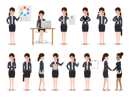 set of working people on white background. business woman people in flat design characters.