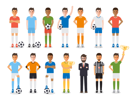 Soccer sport athletes, football players, soccer team manager and football referee. Flat design characters.