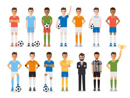 jugadores de futbol: atletas del deporte del fútbol, ??jugadores de fútbol, ??fútbol del equipo gestor y el árbitro de fútbol. caracteres diseño plano. Vectores