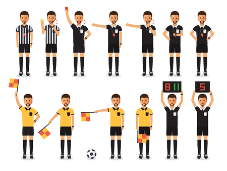Soccer referees, football referees in actions on white background. Flat design characters. Vettoriali