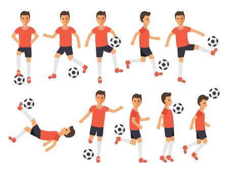 Atletas deportivos de fútbol, jugadores de fútbol jugando, pateando, entrenando y practicando fútbol. Personajes de diseño plano. Ilustración de vector