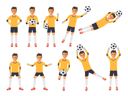 Soccer sport athletes, football goalkeeper playing, kicking, training and practicing football. Flat design characters. Illustration