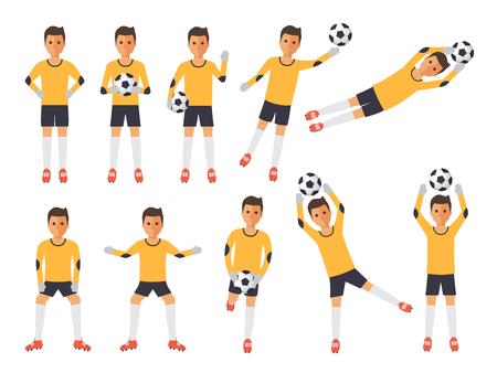 Atletas deportivos de fútbol, porteros de fútbol jugando, pateando, entrenando y practicando fútbol. Personajes de diseño plano.