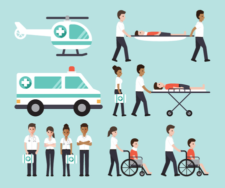 doctors, nurses, paramedics and medical staffs flat design icon set Иллюстрация