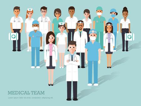 Ärzte und Krankenschwestern und medizinische Personal flaches Design Icon-Set