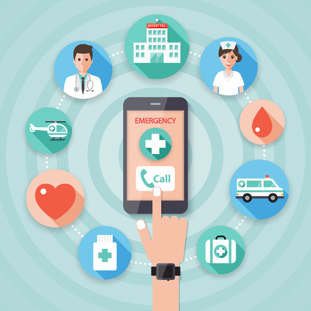 phone and call: Making an emergency call to the hospital on smart phone with doctor, nurse and medical flat design icon set.