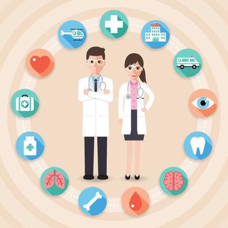 médicos y enfermeras y personal médico diseño plano conjunto de iconos