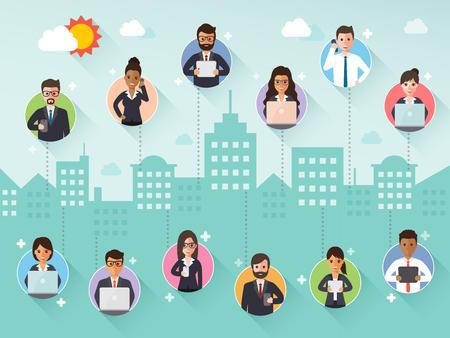 telefono caricatura: Grupo de diversa empresario y empresaria de conexión a través de la red social sobre la escena de la ciudad de fondo. Diseño plano gente caracteres.