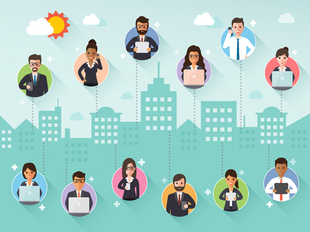 Group of diverse connecting businessman and businesswoman via social network on city scene background. Flat design people characters. Vettoriali