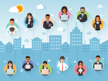 Group of diverse connecting businessman and businesswoman via social network on city scene background. Flat design people characters. Illustration