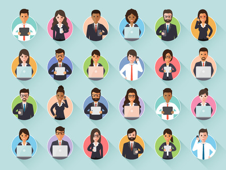 via: Group of diverse connecting businessman and businesswoman via social network. Flat design people characters.