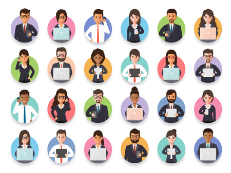 Group of diverse connecting businessman and businesswoman via social network. Flat design people characters.