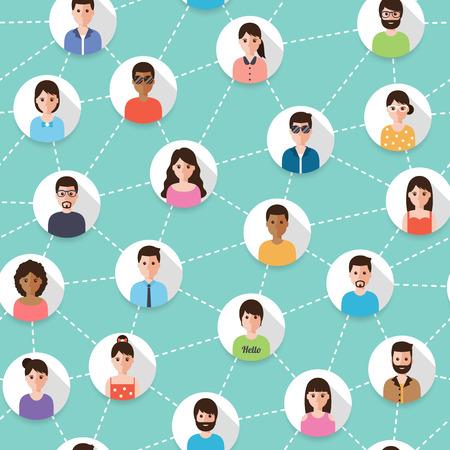 Verbonden mensen en sociaal netwerk naadloos patroon. Plat ontwerp mensen karakters. Stock Illustratie