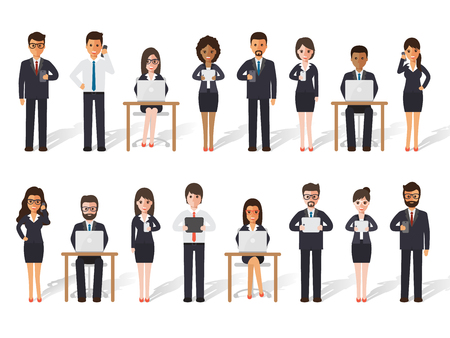 Group of diverse working people on white background. Businessman and businesswoman people using laptop, tablet and smartphone in flat design people characters.