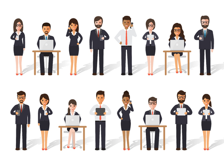 woman tablet: Group of diverse working people on white background. Businessman and businesswoman people using laptop, tablet and smartphone in flat design people characters.
