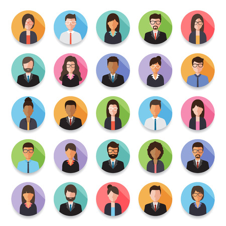 Set of diverse working people, businessman and businesswoman avatar icons. Flat design people characters.