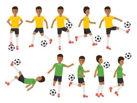 atletas de deportes de fútbol negros, los jugadores de fútbol que juegan, patadas, la formación y la práctica de fútbol. Diseño plano gente caracteres.
