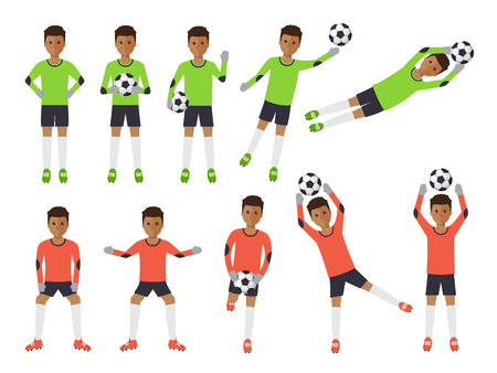 soccer field: Black soccer sport athletes, football goalkeeper playing, kicking, training and practicing football. Flat design people characters.