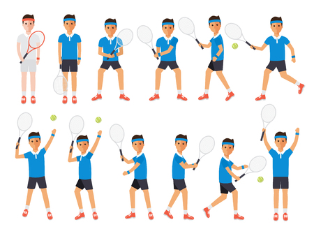 hard court: Tennis sport athletes, players playing, training and practicing with tennis racket. Flat design people characters. Illustration