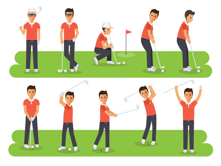 putting: Golf sport athletes, golf players playing, teeing off and putting with golf club. Flat design people characters.