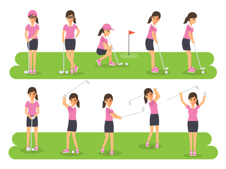 tee off: Female golf sport athletes, woman players playing, teeing off and putting with golf club. Flat design people characters.