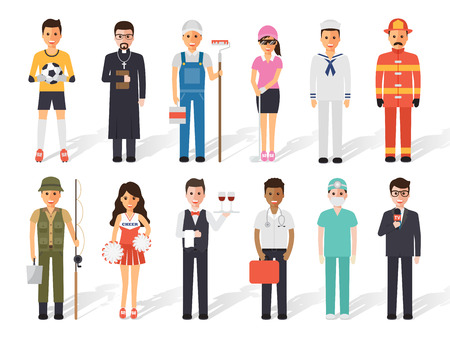 profession: Set of diverse occupation profession people. Flat design people characters. Illustration