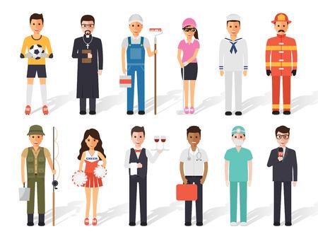 Zestaw różnych ludzi zawód zawód. Płaska konstrukcja ludzie znaków. Ilustracje wektorowe