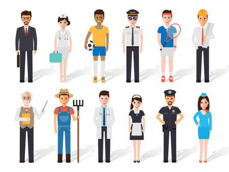 Set of diverse occupation profession people. Flat design people characters.  イラスト・ベクター素材