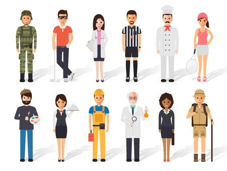 다양한 직업 직업의 사람들의 집합입니다. 플랫 디자인 사람들이 문자.