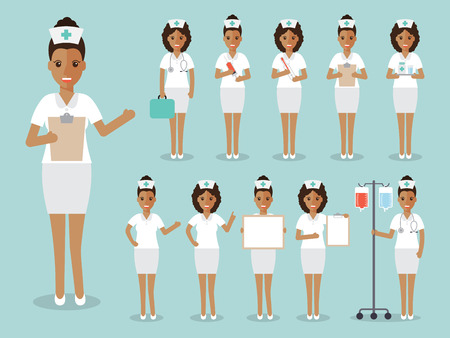 medical staff: Group of black female doctors, African nurses and medical staff people. Flat design people character set.