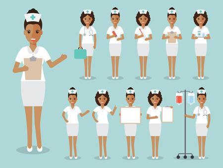 black people: Group of black female doctors, African nurses and medical staff people. Flat design people character set.