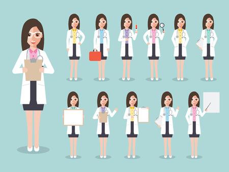 Groep van vrouwelijke artsen, vrouwen medische staf. Plat ontwerp mensen karakters. Vector Illustratie