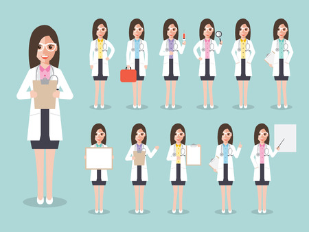 Group of female doctors, women medical staffs. Flat design people characters. Vector Illustration