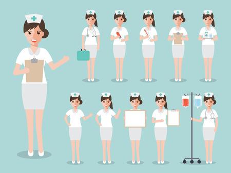 Grupo de mujeres médicos, enfermeras y personas del personal médico. Las mujeres concepto de equipo médico en el diseño de la gente conjunto de caracteres plana.