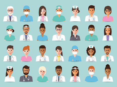Group of doctors and nurses and medical staff people. Flat design people character set.