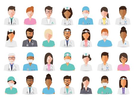 Grupa lekarzy i pielęgniarek oraz osób personelu medycznego. ustawić płaska ludzie znaków. Ilustracje wektorowe