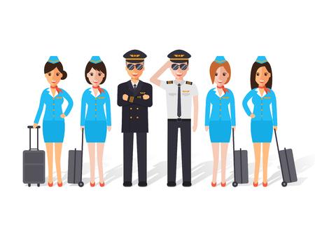 Grupo de pilotos y auxiliares de vuelo, azafata de vuelo. Diseño plano gente caracteres.